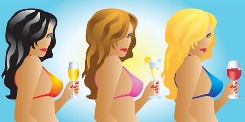 Girls in bikinis with drinks.