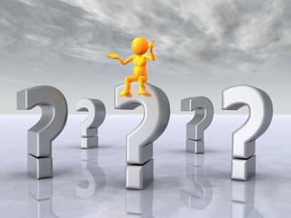 Fragezeichen mit Denker