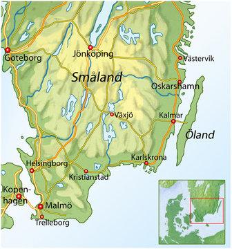 Landkarte von Suedschweden