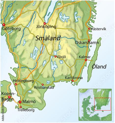 Skandinavien Karte Pdf.Landkarte Von Suedschweden Stock Photo And Royalty Free