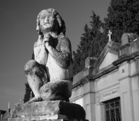 ancient figure on florentine cemetery, Italy