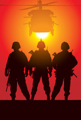 Aluminium Prints Military Vector silhouette of tree soldiers with helicopter