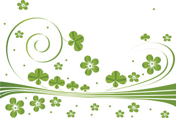 green background with clover leaves