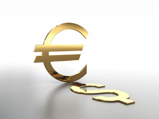 Sign of euro and dollar