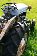 Rostiger Oldtimer Traktor auf einer grünen Wiese