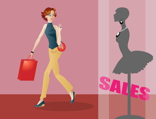 Fashionable girl shopping spotting sales