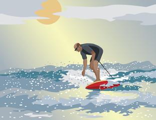 Middle-Aged Surfer