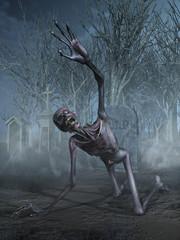Shrieking Zombie in a Graveyard -  3D render