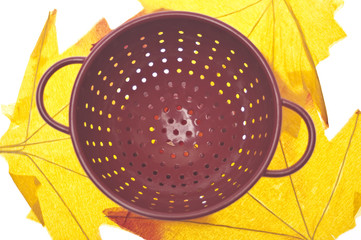 Red Colander on Vibrant Fall Leaves