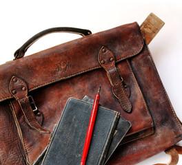 Vintage schoolbag in detail