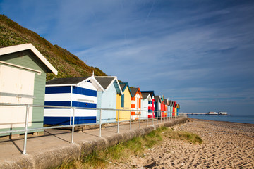 Beach huts on the Cromer beach in Great Britain