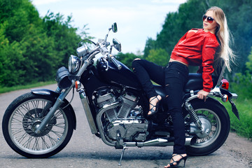 sitting on a motorcycle