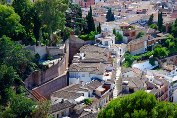 Aerial view on roofs of houses, Albayzin, Granada