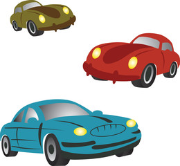 Printed roller blinds Cars Set of icons with cartoon cars.