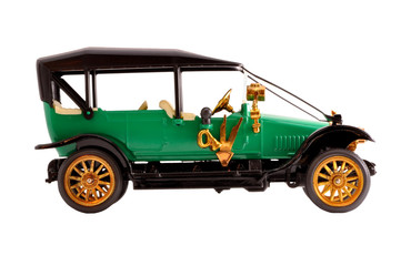 Toy collection scale model ancient green convertible car