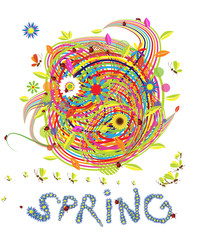 Funny spring illustration for your design