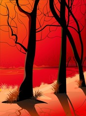 Illustration of tree branches in a red background