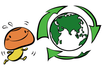 Mushroom Gugu wants to save the world by recycling