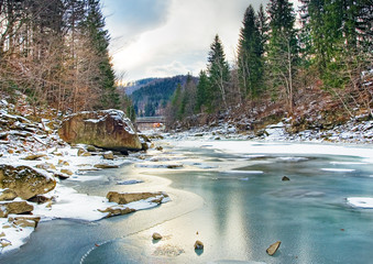 Winter landscape with blue water mountain river