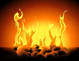 Blazing flame