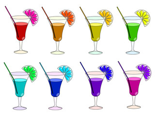 Rainbow cocktails