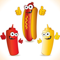 Funny hot dog and friends