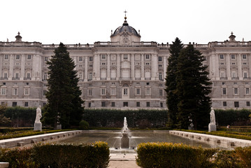 Gardens and fountain in Madrid Royal Palace. Spain