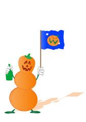 Vector pumpkin by a holiday halloween ,bottle