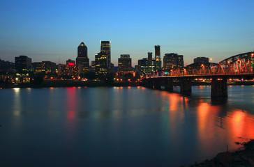 Portland Oregon a changing light at dusk & the Hawthorne bridge.
