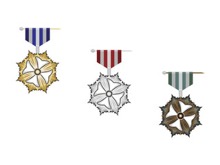 gold, silver and bronze medal on white