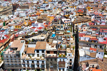 Great view of roofs in Seville town, Andalusia, Spain