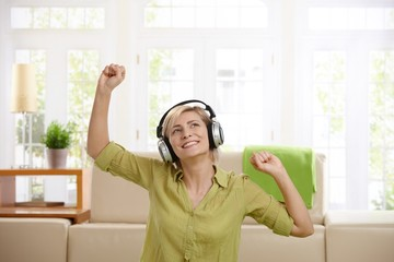 Woman having fun with headphones