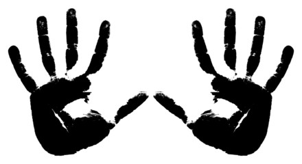 Black prints of two hands on a white background