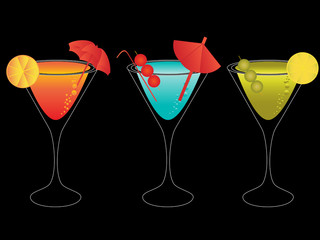 Colorful martinis with umbrellas