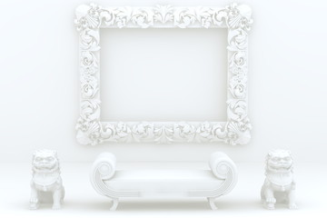 White frame,dragon and sofa