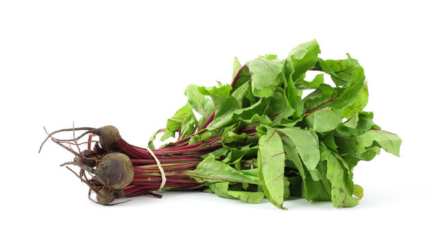 Small bunch of beet greens with beets