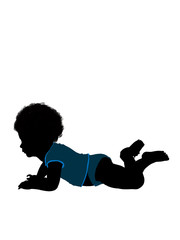 African American Male Infant Toddler Illustration Silhouette