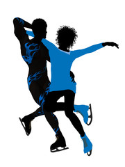 African American Couple Ice Skating Silhouette