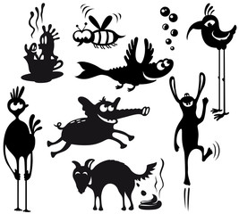 Set with silhouettes of cute characters