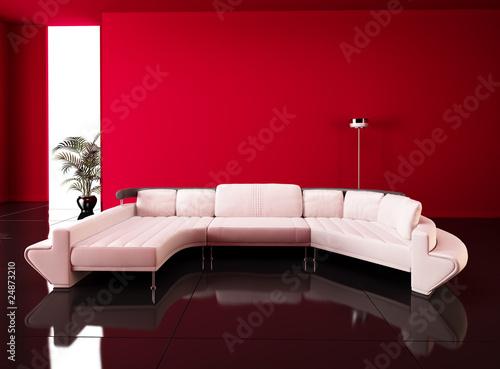 Divano con parete rossa immagini e fotografie royalty for Parete rossa soggiorno