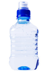 blue water bottle on white