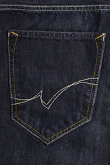 Texture of black jeans pocket fabric