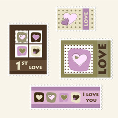 Set of love stamps, vector