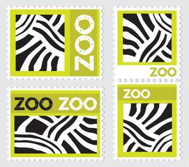 Set of zoo stamps with zebra skin texture, vector