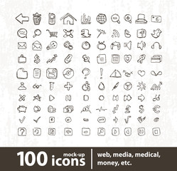 Hundred vector icons for web applications
