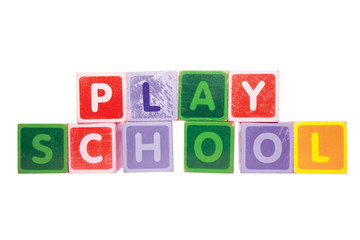 playschool in toy play block letters with clipping path on white