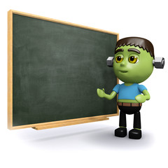 3d Monster at the blackboard