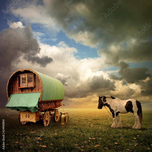 Wall mural An Old Gypsy Caravan, Trailer, Wagon with a Horse