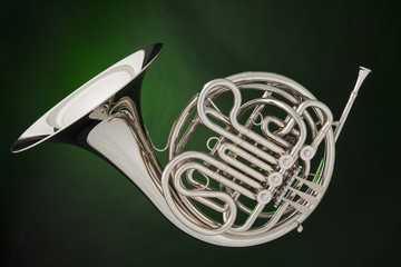 Double French Horn Isolated on Green