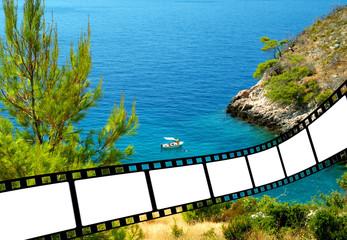 beautiful beach with film strip